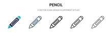 Pencil Icon In Filled, Thin Li...