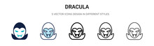 Dracula Icon In Filled, Thin L...