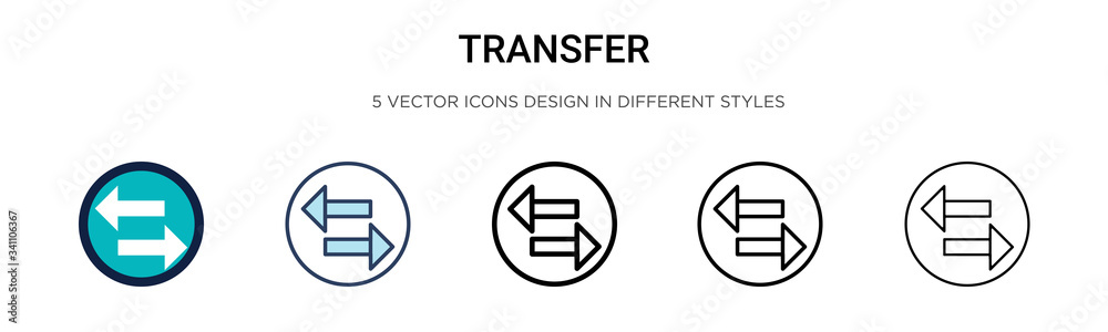 Fototapeta Transfer icon in filled, thin line, outline and stroke style. Vector illustration of two colored and black transfer vector icons designs can be used for mobile, ui,