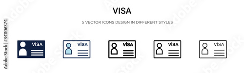 Visa icon in filled, thin line, outline and stroke style Wallpaper Mural
