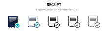 Receipt Icon In Filled, Thin L...