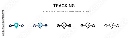 Tracking icon in filled, thin line, outline and stroke style Canvas Print