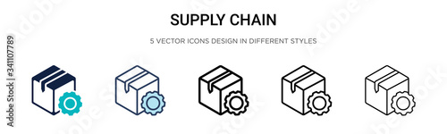 Photo Supply chain icon in filled, thin line, outline and stroke style