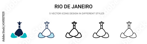 Photo Rio de janeiro icon in filled, thin line, outline and stroke style