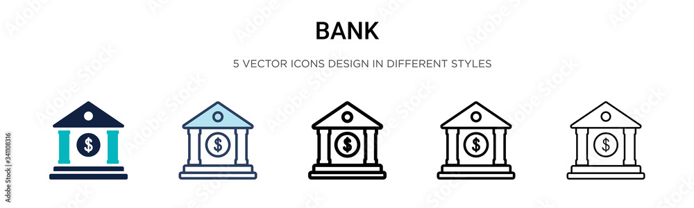 Fototapeta Bank icon in filled, thin line, outline and stroke style. Vector illustration of two colored and black bank vector icons designs can be used for mobile, ui,