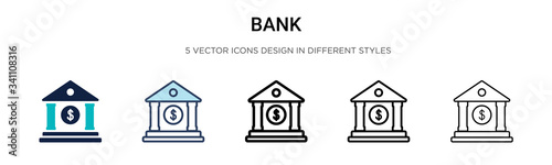 Fotografia Bank icon in filled, thin line, outline and stroke style
