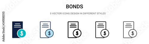 Bonds icon in filled, thin line, outline and stroke style Fototapet