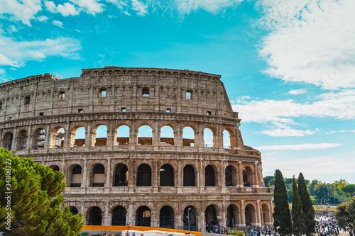 Vászonkép Coliseum or Flavian Amphitheatre or Colosseo or Colosseum, Rome, Italy