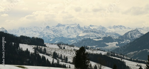 Scenic View Of Snowcapped Mountains Against Sky #341109192