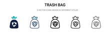 Trash Bag Icon In Filled, Thin...