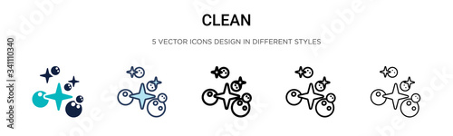 Fototapeta Clean icon in filled, thin line, outline and stroke style. Vector illustration of two colored and black clean vector icons designs can be used for mobile, ui, obraz