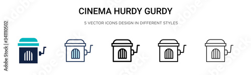 Cinema hurdy gurdy icon in filled, thin line, outline and stroke style Canvas Print