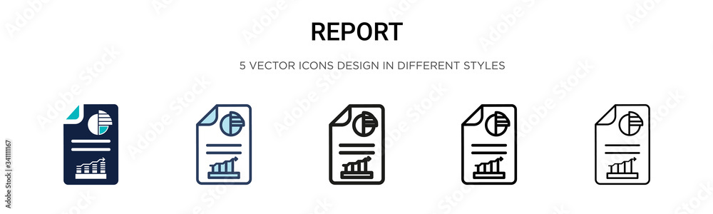 Fototapeta Report icon in filled, thin line, outline and stroke style. Vector illustration of two colored and black report vector icons designs can be used for mobile, ui,