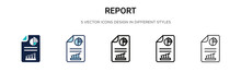 Report Icon In Filled, Thin Li...