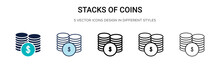 Stacks Of Coins Icon In Filled...