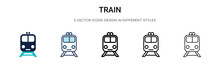 Train Icon In Filled, Thin Lin...