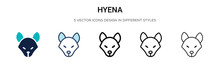 Hyena Icon In Filled, Thin Line, Outline And Stroke Style. Vector Illustration Of Two Colored And Black Hyena Vector Icons Designs Can Be Used For Mobile, Ui,