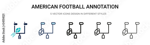 American football annotation icon in filled, thin line, outline and stroke style Canvas Print