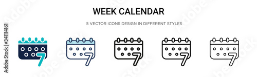 Obraz Week calendar icon in filled, thin line, outline and stroke style. Vector illustration of two colored and black week calendar vector icons designs can be used for mobile, ui, - fototapety do salonu