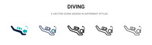 Diving Icon In Filled, Thin Line, Outline And Stroke Style. Vector Illustration Of Two Colored And Black Diving Vector Icons Designs Can Be Used For Mobile, Ui,
