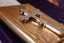 Golden Gospel (holy Bible) Book And A Silver Cross On It. Russian Eastern Orthodox Church.