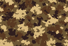 Seamless Classic Camouflage Pattern. Camo Fishing Hunting Vector Background. Masking  Yellow Brown Beige Color Military Texture Wallpaper. Army Design For Fabric Print.