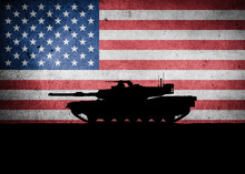 American Main Battle Tank In Front Of The United States Flag