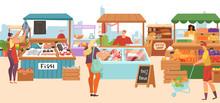 Food Market Sale Stalls, Local...