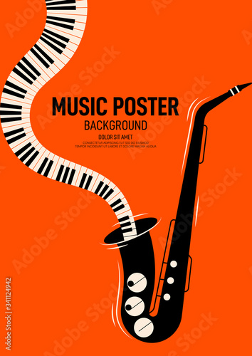 Fényképezés Music poster design template background decorative with saxophone and piano keyb