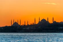 Istanbul, Turkey, 23 January 2012: Blue Mosque, Hagia Sophia Museum, Historical Peninsula, Sunset
