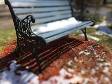 Light Blue Park Bench With Sno...