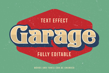 Vintage text effect template with 3d style editable font effect