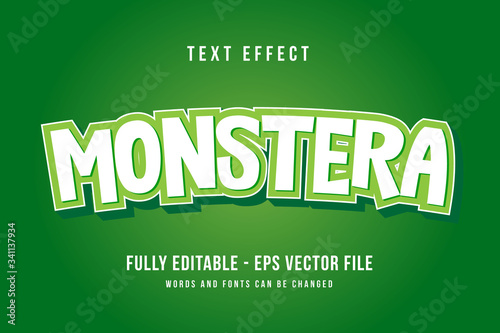 Fototapeta Monster text effect template with 3d style editable font effect obraz