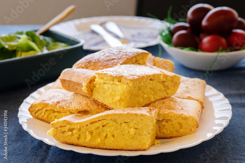 Close Up View On Cornbread Corn Pone In A White Plate On The Table Covered With Sesame Seed Organic Vegetarian Food Vegan Buy This Stock Photo And Explore Similar Images At