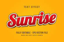 Sunrise Text Effect Template With 3d Style Editable Font Effect