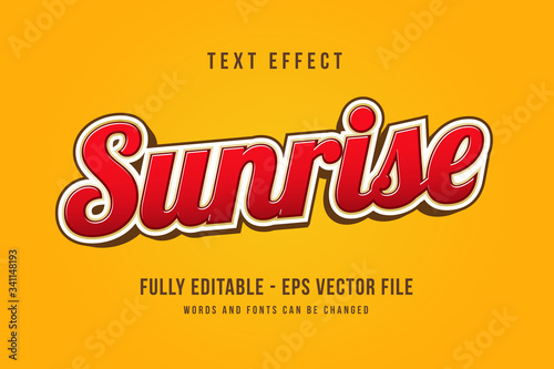 Canvas Sunrise text effect template with 3d style editable font effect