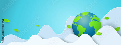 Fotografía Paper art of green nature and world environment day concept background template