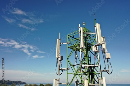 4G and 5G telecommunications tower Fototapeta
