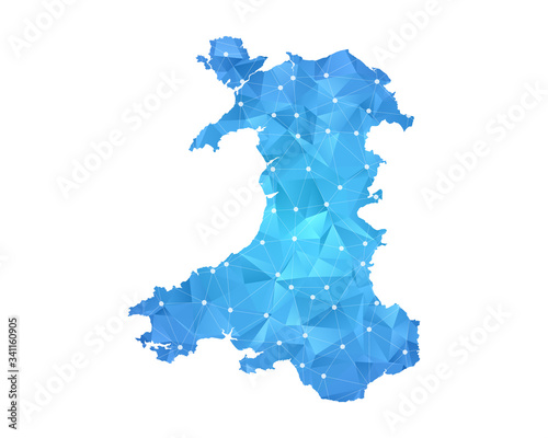 Fototapeta Wales Map - Abstract geometric rumpled triangular low poly style gradient graphic on white background , line dots polygonal design for your