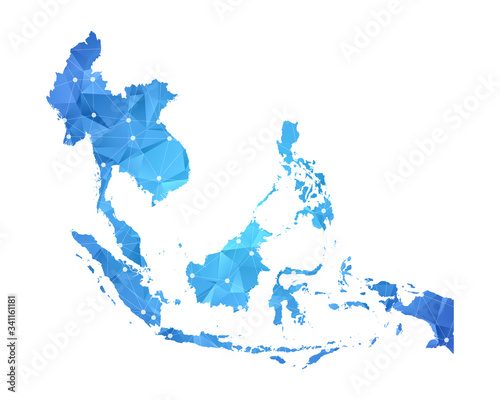 Foto Southeast Asia Map - Abstract geometric rumpled triangular low poly style gradient graphic on white background , line dots polygonal design for your