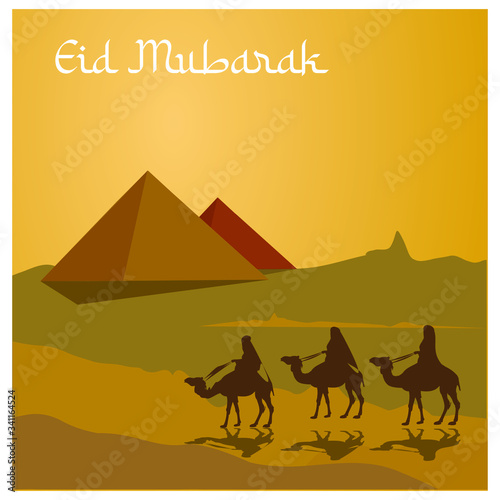 people riding camels with pyramid background Canvas Print