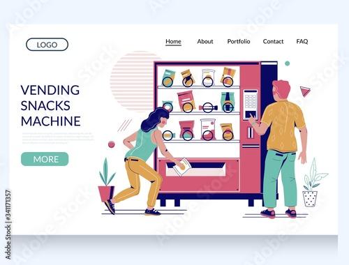 Foto Vending snacks machine vector website landing page design template