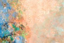 Peach Floral Wall Textured Bac...
