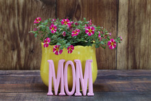 Mini Petunias In A Yellow Pot With The Word Mom In Front.