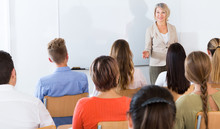 Female Teacher Lecturing To St...