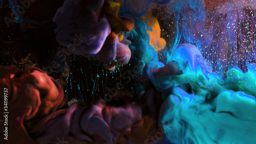 Fototapety, obrazy: Macro photo shoot of colorful Ink in water. Power magic multi color Underwater Paint Drops background. Red camera still poster backdrop. Beautiful wallpaper.