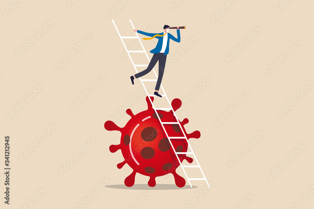 Fototapeta Business vision new normal after Coronavirus COVID-19 pandemic causing financial crisis and economy recession concept, businessman leader holding telescope on top of ladder above Coronavirus pathogen