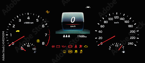 Illustration of car instrument panel with speedometer, tachometer, odometer, fuel gauge, oil temperature gauge, ABS, ESP, TPMS icon, check engine, airbag, brake system, lane assist warning light Canvas Print