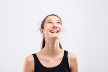 Elated Laughing Happy Young Wo...