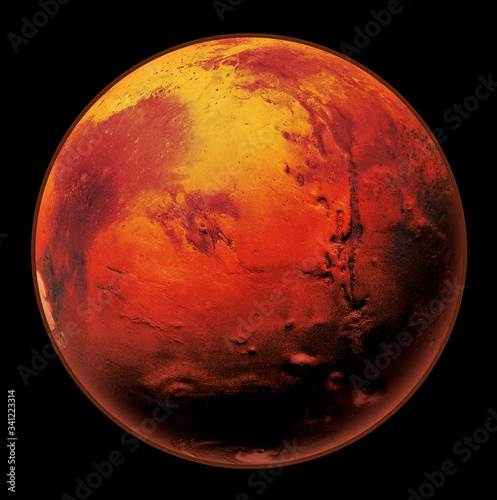 Fototapeta Mars the Red planet of the solar system in space. High resolution art presents planet Mars isolated on black. obraz